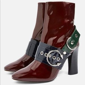 TOPSHOP Hot Hardware Patent Leather Buckle Booties